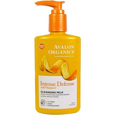 Avalon Organics 維C成份起到深層防禦作用,清潔乳,8.5液量盎司(251毫升)