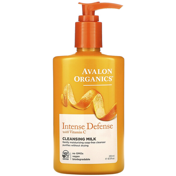 Avalon Organics, Intense Defense, With Vitamin C, Cleansing Milk, 8.5 fl oz (251 ml)