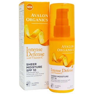 Avalon Organics, Intense Defense, With Vitamin C, Sheer Moisture, SPF 10, 1.7 oz (50 g)