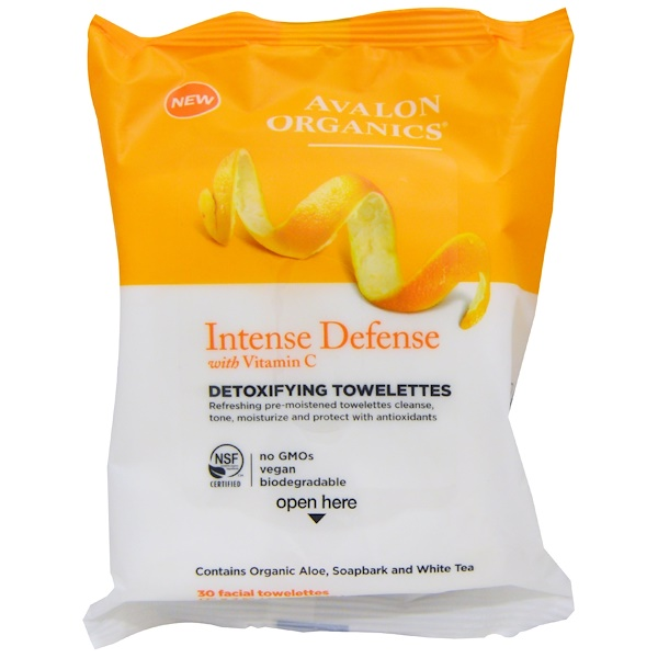 Avalon Organics, Intense Defense, With Vitamin C, Detoxifying Towelettes, 30 Facial Towelettes (Discontinued Item)
