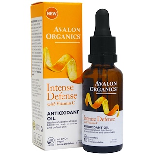 Avalon Organics, Intense Defense, With Vitamin C, Antioxidant Oil, 1 fl oz (30 ml)