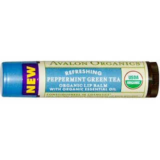 Avalon Organics, Organic Lip Balm, Peppermint Green Tea, 0.15 oz (4.2 g)