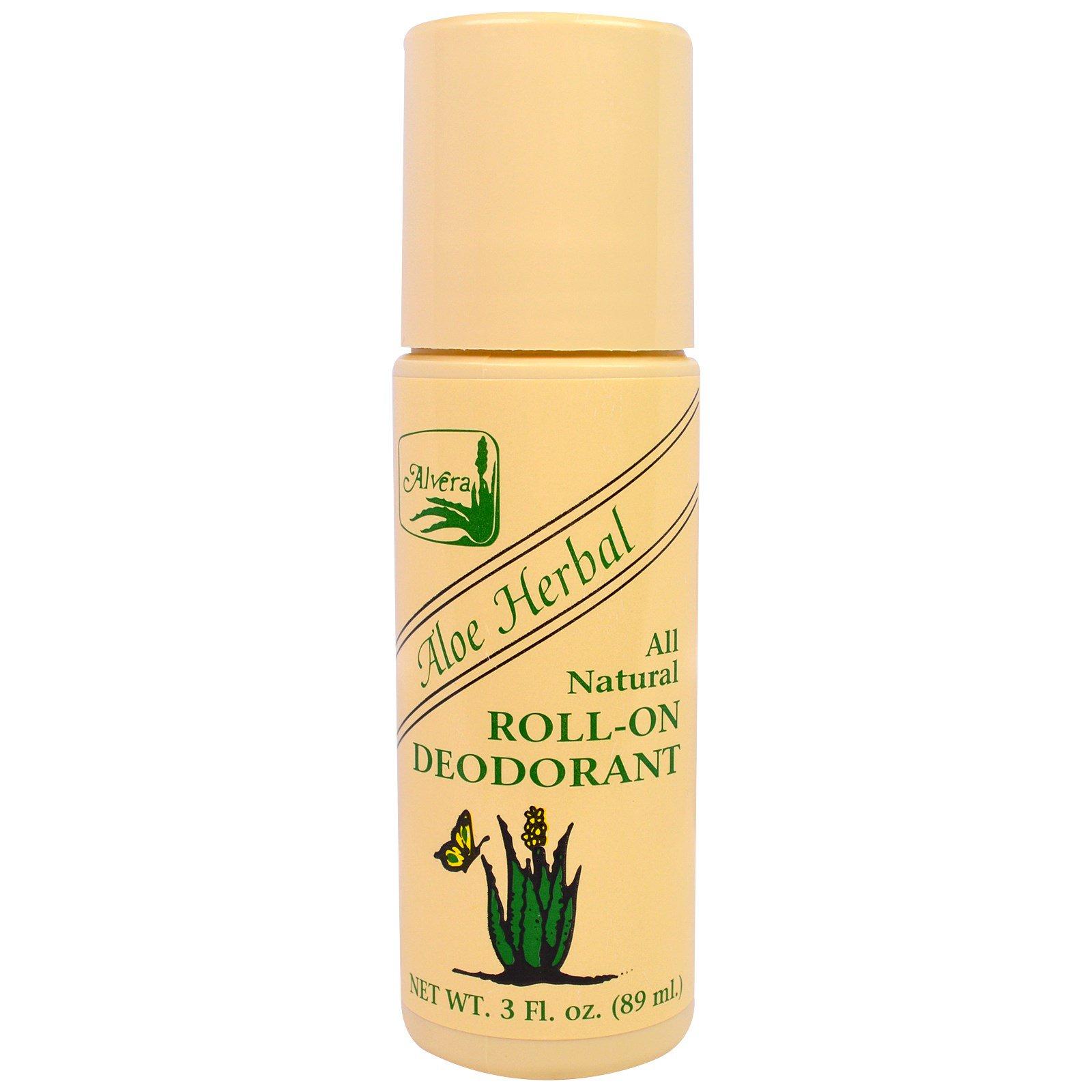Alvera, Aloe Herbal All Natural Roll-On Deodorant, 3 жидких унций (89 мл)