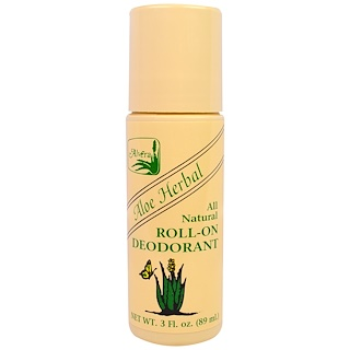 Alvera, Desodorante roll-on herbal aloe All Natural, 3 fl oz (89 ml)