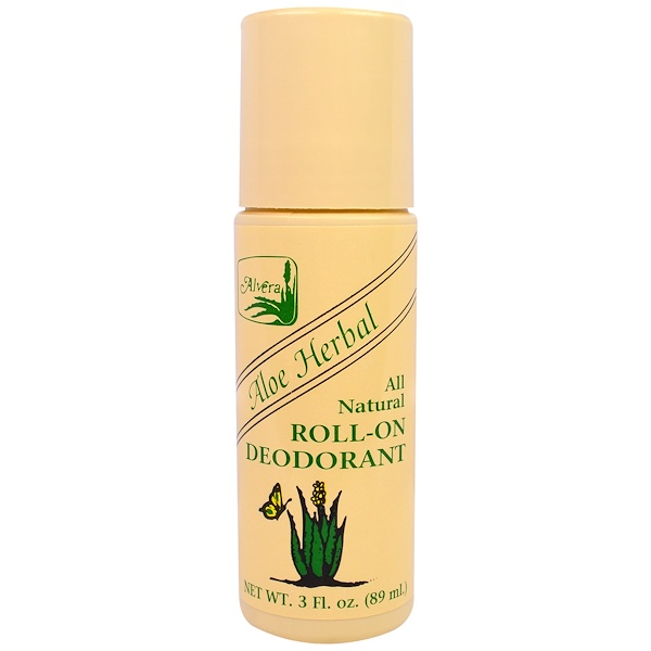 Alvera, Roll-On Deodorant, Aloe Herbal, 3 fl oz (89 ml)