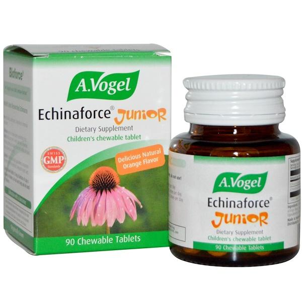 A Vogel, Echinaforce Junior, с апельсиновым вкусом, 90 жевательных таблеток (Discontinued Item)