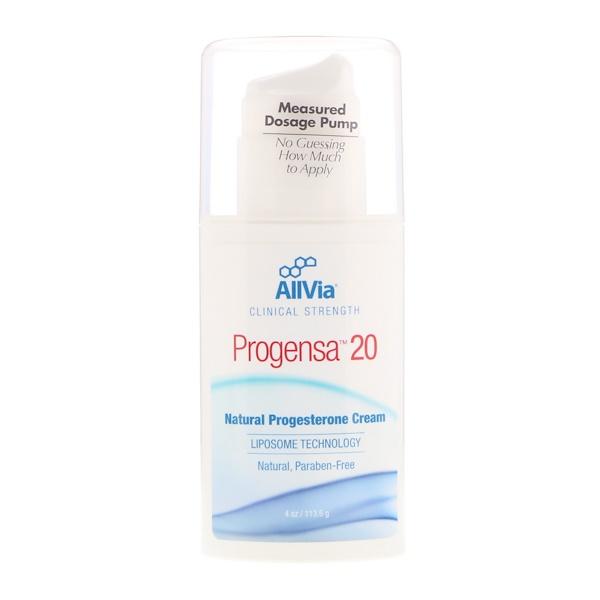 AllVia, Progensa 20,天然黃體酮膏,無味,4 盎司(113、6 克)