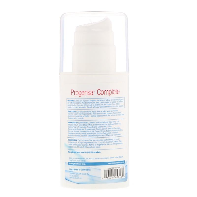 AllVia, Progensa Complete, Progesterone Cream Plus Pregnenolone & 7-Keto DHEA, 4 fl oz (113.4 g) - photo 1