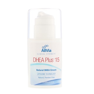 AllVia, DHEA Plus 15, Natural DHEA Cream, Unscented, 2 oz (57 g)