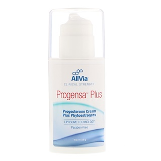 AllVia, Progensa Plus, Progesterone Cream Plus Phytoestrogens, Unscented, 4 oz (113.6 g)