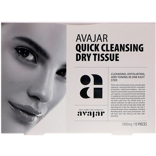 Avajar, Quick Cleansing Dry Tissue, 15 Tissues
