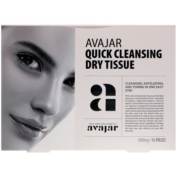 Avajar, Quick Cleansing Dry Tissue, 15 Tissues (Discontinued Item)