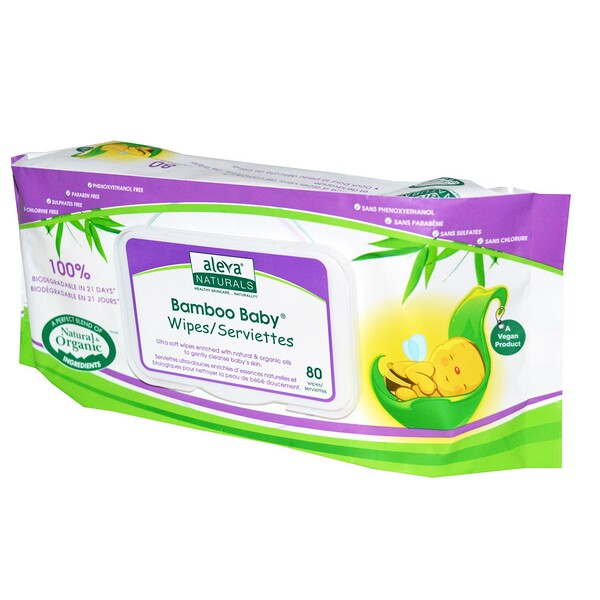 Bamboo Baby Wipes, 80 Wipes