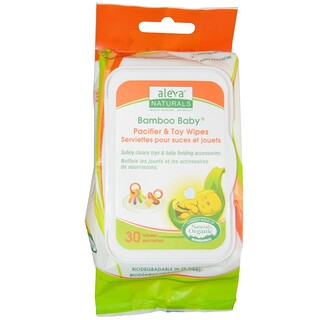 Aleva Naturals, Bamboo Baby Wipes, Pacifier & Toy, 30 Wipes