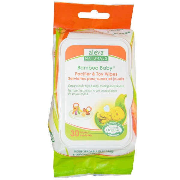 Bamboo Baby Wipes, Pacifier & Toy, 30 Wipes