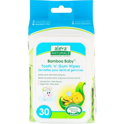 Купить Влажные салфетки Bamboo Baby для зубок и десен, 30 влажных салфеток, 5, 9 x 7, 9 дюймов (15 x 20 см)