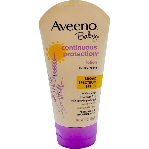 Aveeno, Baby, Continuous Protection Lotion, Sunscreen, SPF 55, Fragrance Free, 4 oz (112 g) (Discontinued Item)