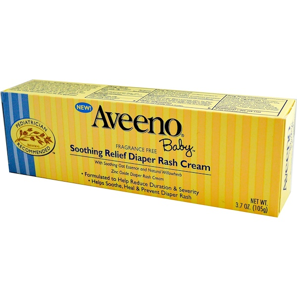 Aveeno, Baby, Soothing Relief Diaper Rash Cream, Fragrance Free, 3.7 oz (105 g) (Discontinued Item)