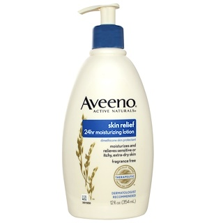 Aveeno, Active Naturals, Skin Relief 24hr Moisturizing Lotion, Fragrance Free, 12 fl oz (354 ml)