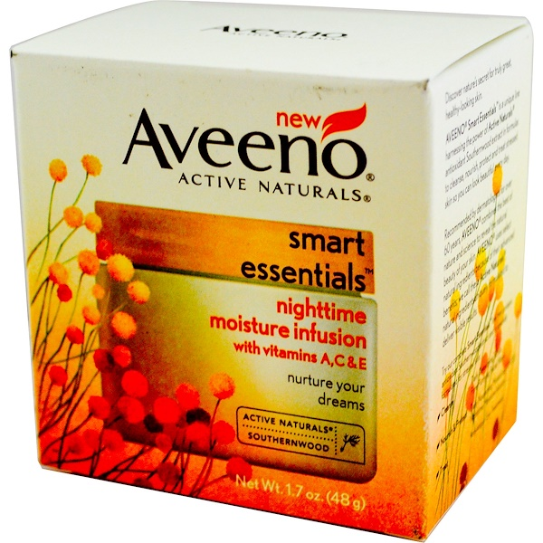 Aveeno, Active Naturals, Smart Essentials, Nighttime Moisture Infusion, 1.7 oz (48 g) (Discontinued Item)