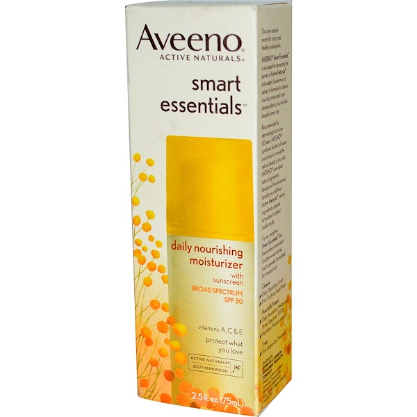 Aveeno, Active Naturals, Smart Essentials, Daily Nourishing Moisturizer, SPF 30, 2.5 fl oz (75 ml) (Discontinued Item)