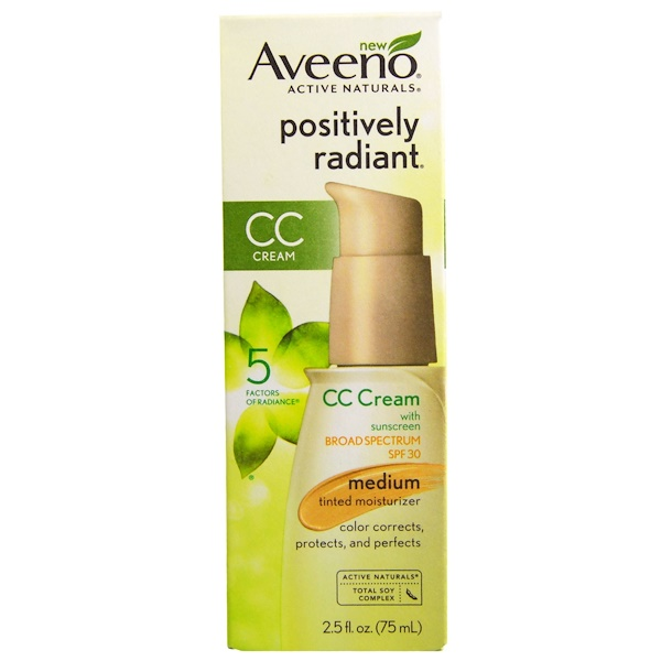Aveeno, Active Naturals, Positively Radiant CC Cream, SPF 30, Medium, 2.5 fl oz (75 ml) (Discontinued Item)