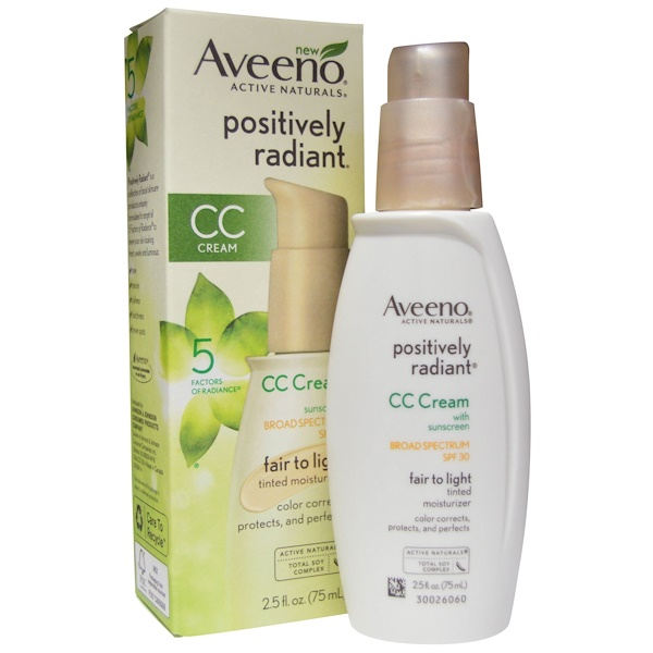 Aveeno, Positively Radiant, CC Cream, SPF 30, Fair to Light, 2.5 fl oz (75 ml) (Discontinued Item)