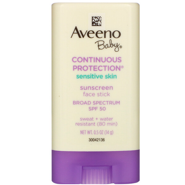Aveeno, Baby, Continuous Protection, Sensitive Skin, Face Stick Sunscreen, Broad Spectrum SPF 50, 0.5 oz (14 g) (Discontinued Item)