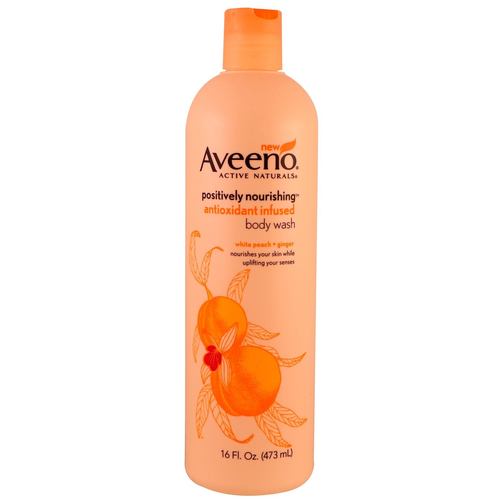 Aveeno, Питательный гель для душа, обогащенный антиоксидантами, белый персик + имбирь, 16 жидких унций (473 мл)