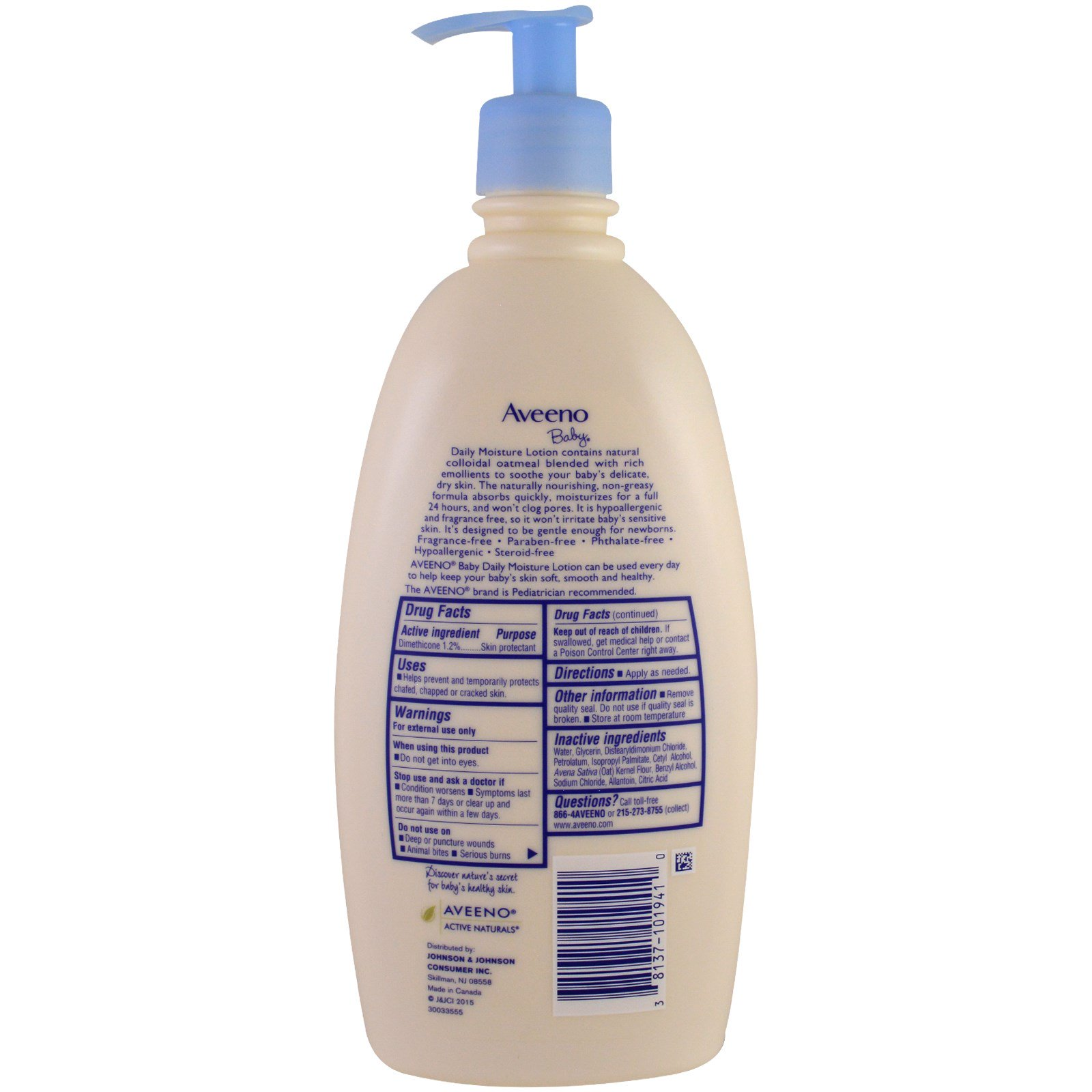 Aveeno Baby Daily Moisture Lotion Fragrance Free 18 Fl