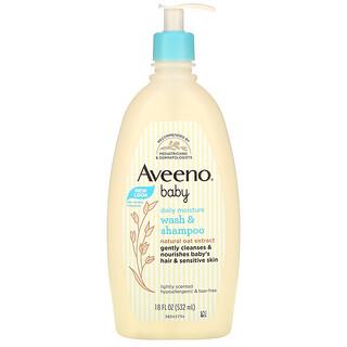 Aveeno, детское увлажняющее средство для мытья тела и шампунь, с легким запахом, 532мл (18 жидк. унций)