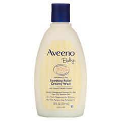 Aveeno, 嬰兒舒緩沐浴乳霜,無香,12液量盎司(354毫升)