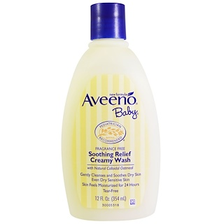 Aveeno, Сливочное средство для мытья для малышей «Успокаивающее облегчение», без отдушки, 12 жидк. унц. (354 мл)