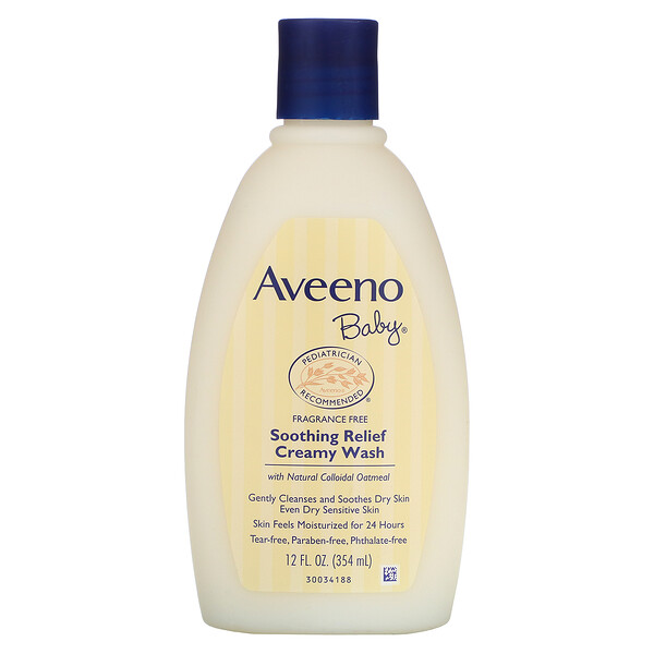 Aveeno, Baby, Soothing Relief Creamy Wash, Fragrance Free, 12 fl oz (354 ml)