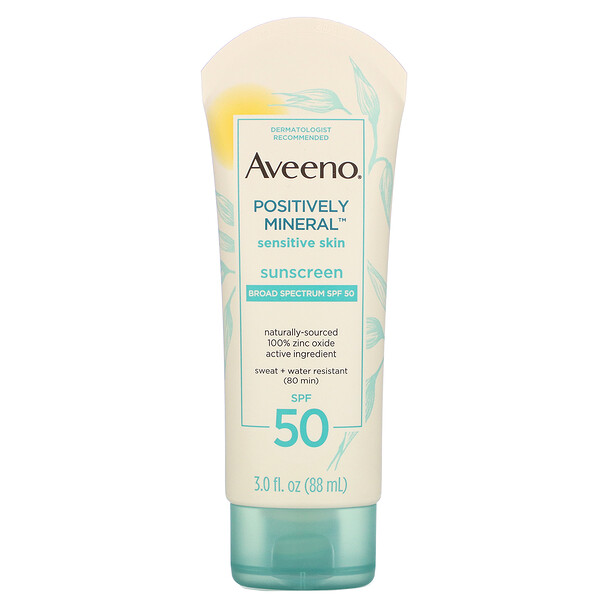Aveeno, Positively Mineral Sensitive Skin, Sunscreen, SPF 50, 3.0 fl oz (88 ml)