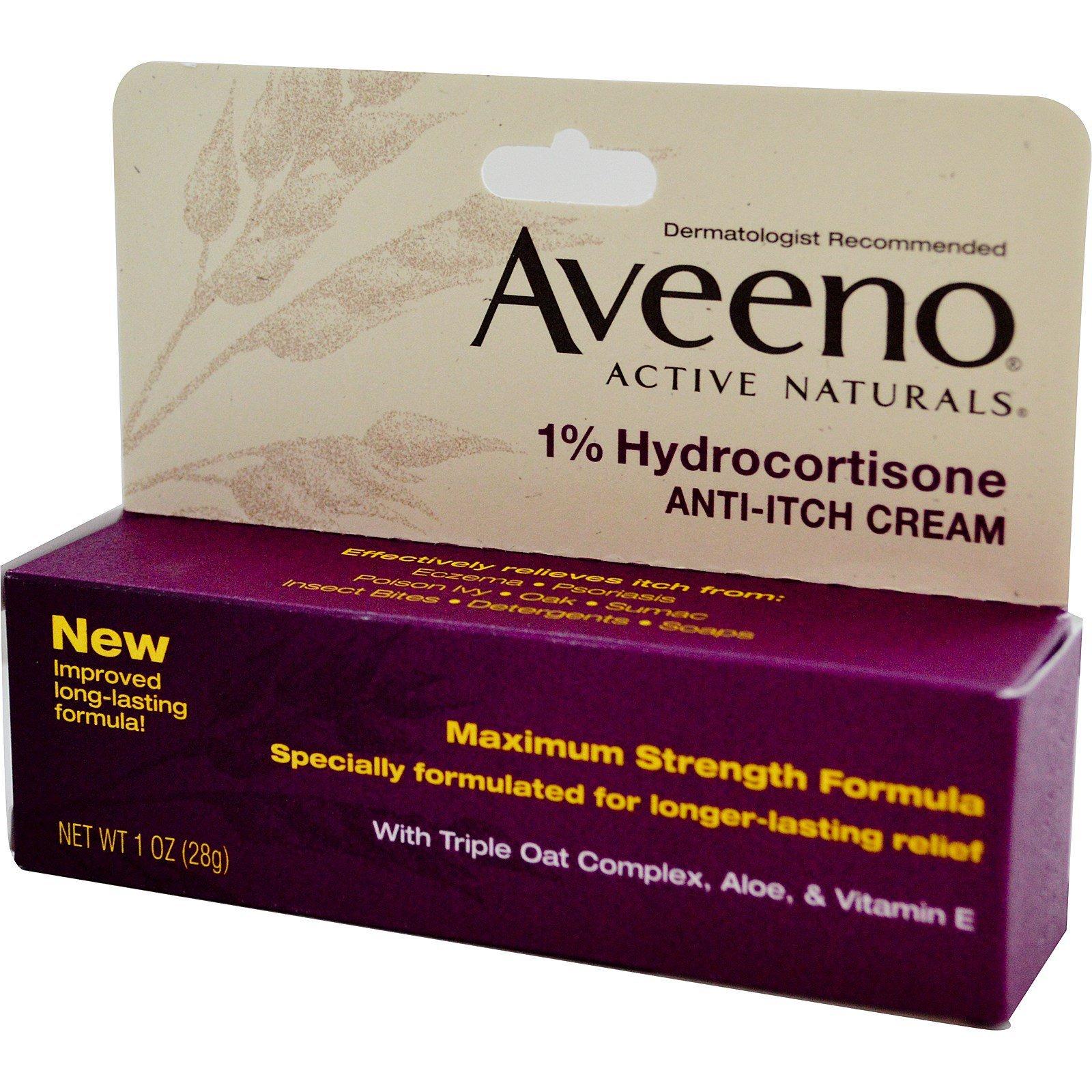 Aveeno, Active Naturals, 1% Hydrocortisone, Anti-Itch Cream, 1 oz