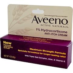 Aveeno, Active Naturals, 1% Hydrocortisone, Anti-Itch Cream, 1 oz (28 g)