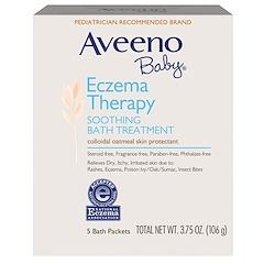 Aveeno, Baby, Eczema Therapy, Soothing Bath Treatment, خال من العطور, 5 Bath Packets, 3.75 أونصة (106 غ)