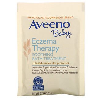Aveeno, Baby, Eczema Therapy, Soothing Bath Treatment, Fragrance Free, 5 Bath Packets, 3.75 oz (106 g)