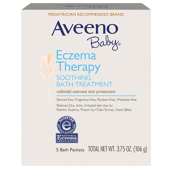 Aveeno, Baby, Eczema Therapy, Soothing Bath Treatment, خال من العطور, 5 Bath Packets, 3.75 أونصة (106 غ)