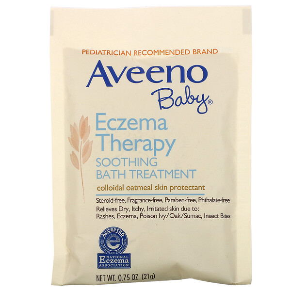 Baby, Eczema Therapy, Soothing Bath Treatment, Fragrance Free, 5 Bath Packets, 3.75 oz (106 g)