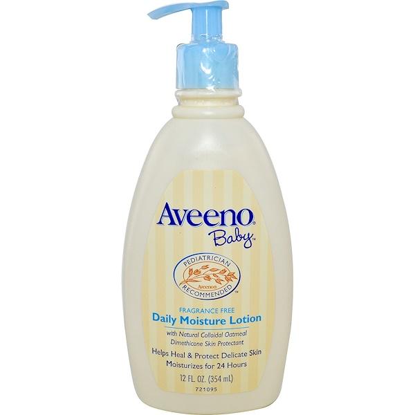 Aveeno, Baby, Daily Moisture Lotion, Fragrance Free, 12 fl oz (354 ml)