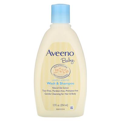Aveeno Baby, средство для душа и шампунь, с легким ароматом, 354 мл (12 жидких унций)