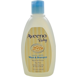 Aveeno, 베이비, 워시 및 샴푸, 은은한 향, 12 fl oz (354 ml)