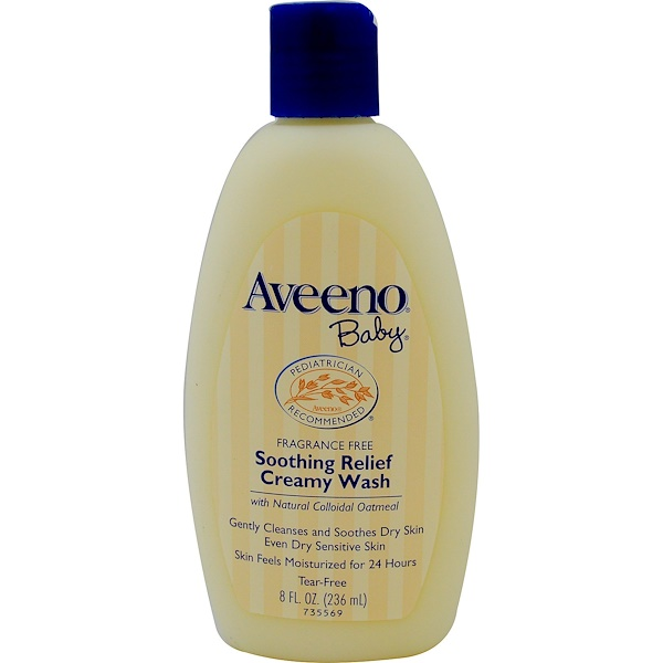 Aveeno, Baby, Soothing Relief Creamy Wash, Fragrance Free, 8 fl oz (236 ml)