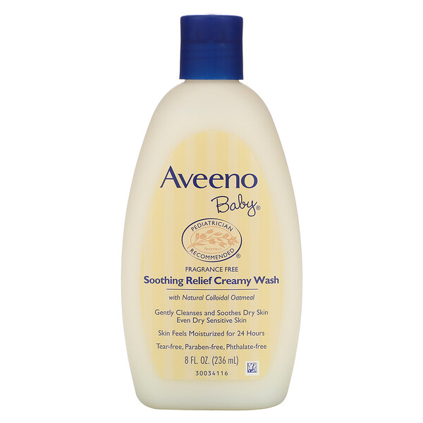 Baby, Soothing Relief Creamy Wash, Fragrance Free, 8 fl oz (236 ml)