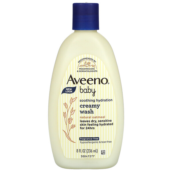 Aveeno, Baby, Soothing Hydration Creamy Wash, Fragrance Free, 8 fl oz (236 ml)