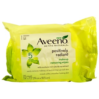 Aveeno, Active Naturals, Positively Radiant Makeup Removing Wipes, 25 Wipes