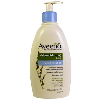 Aveeno, Active Naturals, Daily Moisturizing Lotion, Sheer Hydration, Fragrance Free, 12 fl oz (350 ml)