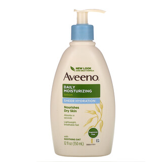 Aveeno, Active Naturals, Daily Moisturizing Lotion, Sheer Hydration, Fragrance Free, 12 fl oz (350 ml)